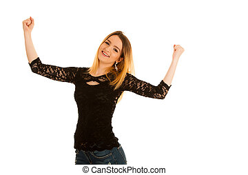 cute young woman gesturing victory with hands up isolated over white background