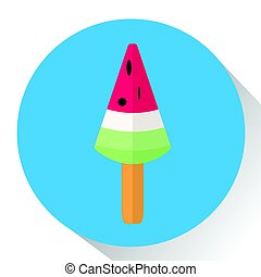 Isolated popsicle icon - Isolated popsicle on a colored...