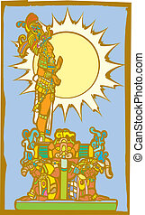 Mayan Lord with Sun and Slaves