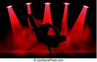 Break dancer performance - Vector illustration of Break...