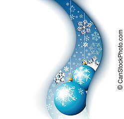 Christmas card - snowflakes and bulbs
