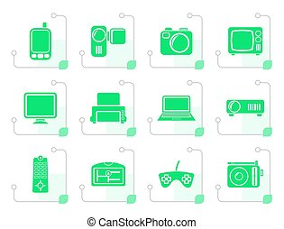 Stylized Hi-tech technical equipment icons