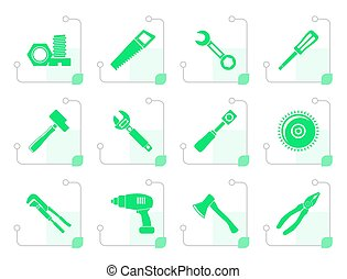 Stylized different kind of tools icons