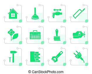 Stylized construction and do it yourself icons - vector icon...