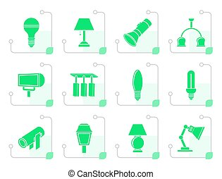 Stylized different kind of lighting equipment - vector icon...