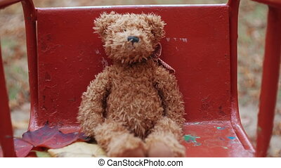 Brown teddy bear swinging on an old swing in the autumn park...
