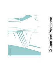 Water dam isolated on background. Vector illustration.