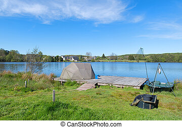Landscape in French Limousin with fish place - lake in...