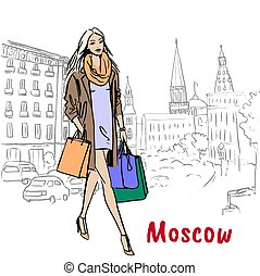 Tverskaya street in Moscow - Hand-drawn sketch of woman with...