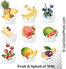Big collection of fruit in a milk splash. Pineapple, mango,...