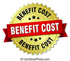 benefit cost round isolated gold badge