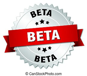 beta round isolated silver badge
