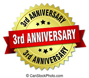 3rd anniversary round isolated gold badge