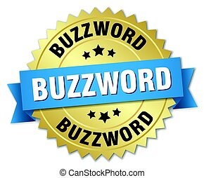 buzzword round isolated gold badge
