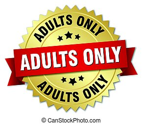 adults only round isolated gold badge