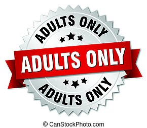 adults only round isolated silver badge