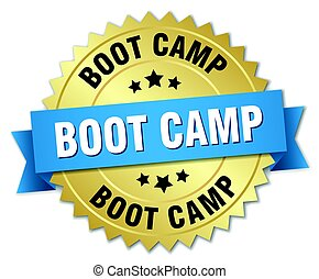 boot camp round isolated gold badge