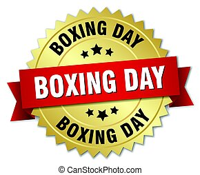 boxing day round isolated gold badge