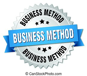 business method round isolated silver badge