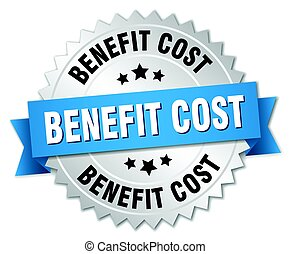 benefit cost round isolated silver badge