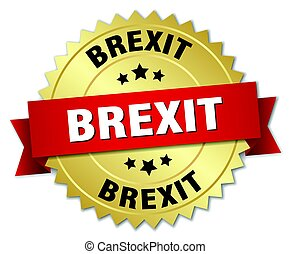 brexit round isolated gold badge
