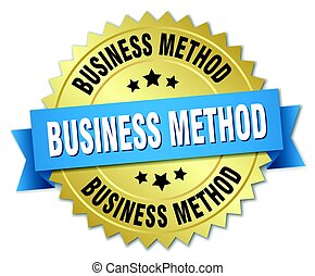 business method round isolated gold badge