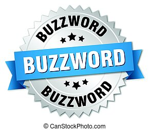 buzzword round isolated silver badge