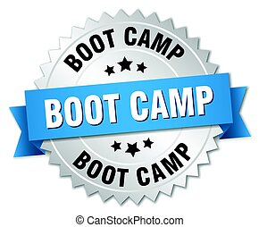 boot camp round isolated silver badge
