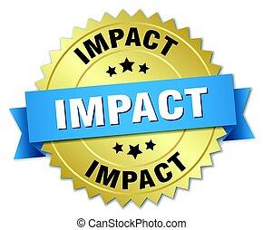 impact round isolated gold badge