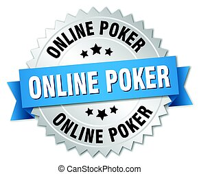 online poker round isolated silver badge