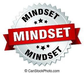 mindset round isolated silver badge