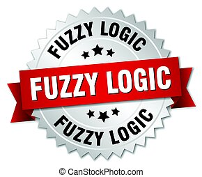 fuzzy logic round isolated silver badge