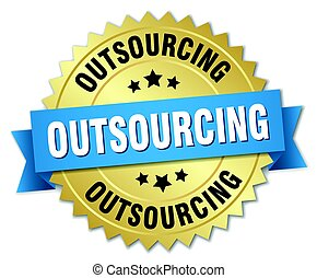 outsourcing round isolated gold badge
