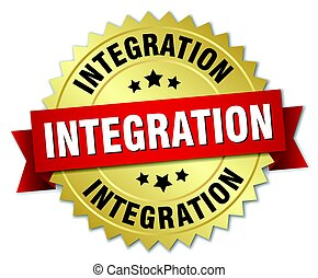 integration round isolated gold badge