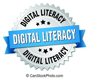 digital literacy round isolated silver badge