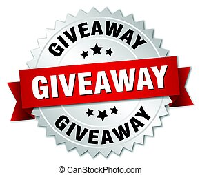 giveaway round isolated silver badge