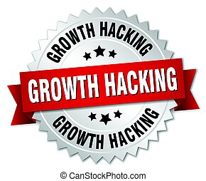 growth hacking round isolated silver badge