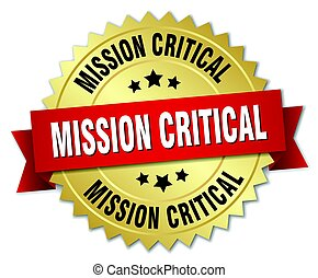mission critical round isolated gold badge