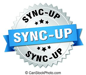 sync-up round isolated silver badge