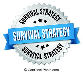 survival strategy round isolated silver badge
