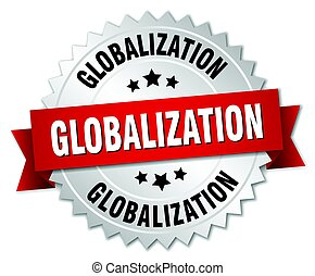 globalization round isolated silver badge