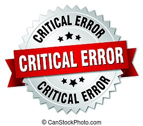 critical error round isolated silver badge