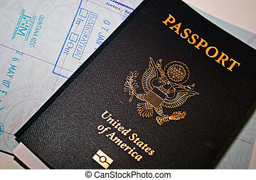 US Passport with open page on white