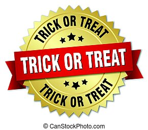 trick or treat round isolated gold badge
