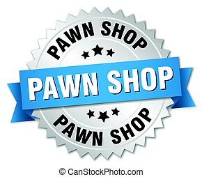pawn shop round isolated silver badge