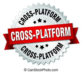cross-platform round isolated silver badge