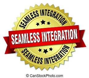 seamless integration round isolated gold badge