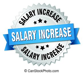 salary increase round isolated silver badge