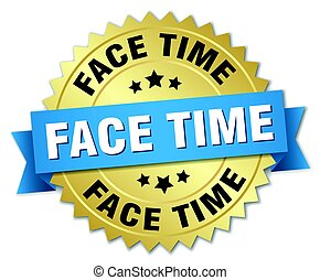 face time round isolated gold badge