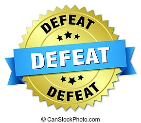 defeat round isolated gold badge